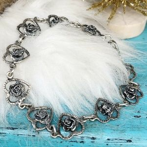 Sterling Heart w/Rosebud Link Bracelet Vintage 7.5